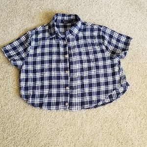 Crop top flannel shirt